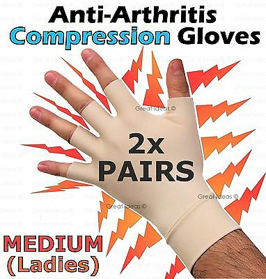 2x PAIRs Arthritis COMPRESSION Gloves Carpal Hand Ache Pain Rheumatoid THERAPY