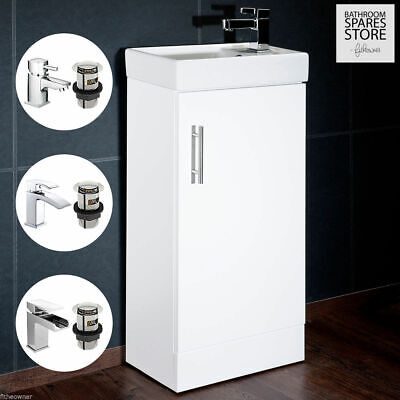 High Gloss White Compact Bathroom Cabinet Vanity Unit Basin Sink Cloakroom 400mm
