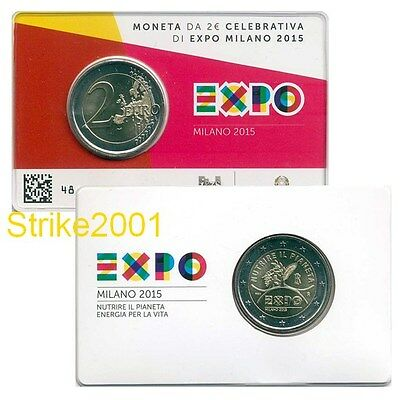 NEW !!! 2 EURO COMMEMORATIVO ITALIA 2015 EXPO in Folder NEW !!!