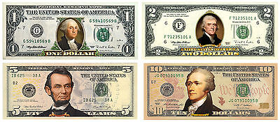 Set of 4 COLORIZED 2-SIDED US Bills Currency $1/$2/$5/$10 Genuine Legal Tender