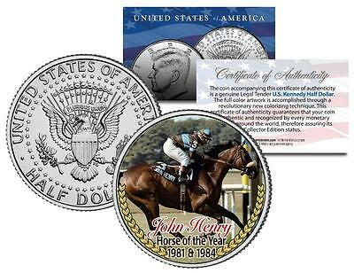 JOHN HENRY *1981 1984 Horse of the Year* Thoroughbred Race JFK Half Dollar Coin
