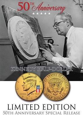 2014 JFK 24K GOLD Plated Half Dollar Coin *50 YEAR SPECIAL RELEASE LOGO* D MINT