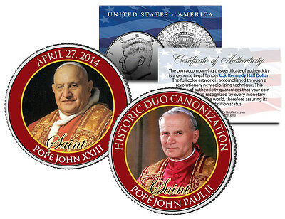 SAINTS POPE JOHN PAUL II & JOHN XXIII CANONIZATION 2014 JFK Half Dollar Coin