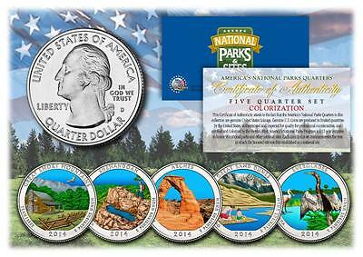 2014 Colorized National Parks America the Beautiful Coins *Set of all 5 Quarters