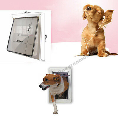 Extra Large 17x14 inch Pet Safety Big Fat Cat Dog Lockable Gate Flap Door White