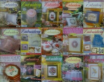 15 Emboidery & Cross Stitch Magazines All With Paper Pattern In Good Condition