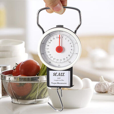 Portable Travel Hanging Hook 22kg 50lb w/Measuring Tape Luggage Food Scale