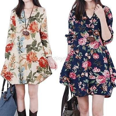 Pregnant Women Fashion Floral Linen Cotton V-Neck Loose Casual Maternity Dress