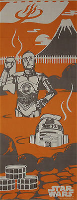 Star Wars Tenugui Cloth R2D2 and C3P0 Take a Bath Motif Japanese Cotton Fabric