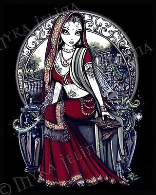 Fairy Hanging Gardens Henna Sari Ayanna Ltd Edition Signed CANVAS Embellished