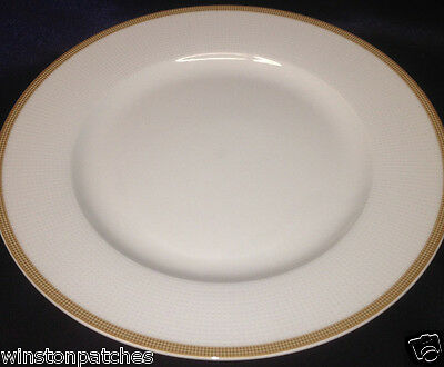 "Tabletops Unlimited Empress 10 1/2"" Dinner Plate Gold Dot Band & White Dots"