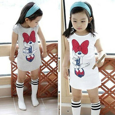 3-8Y Kids Girls Minnie Mouse Short Sleeve Party Dress Summer T-Shirt Bow Skirt