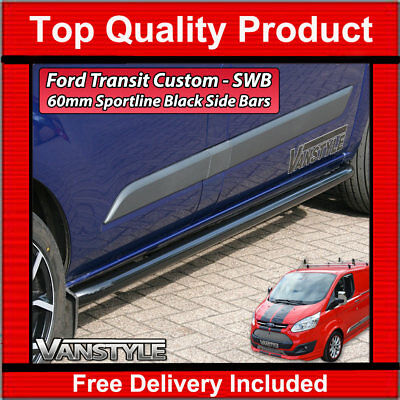 Ford Transit Custom Black Sportline Side Bars Swb Sport Tourneo Not Chrome
