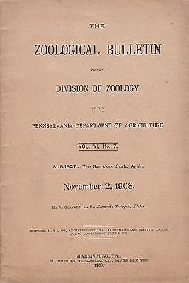 November 1908 Zoological Bulletin Pennsylvania Department of Agriculture Zoology