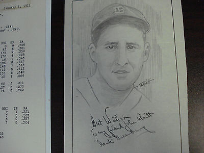 Hank Greenberg Signed Original Artwork From Artist John Raitt Collection Detroit