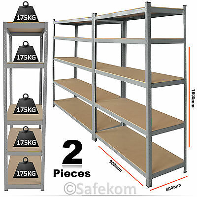 2 Bays 5 Tier Boltless Garage Storage Racking Shelving Unit Warehouse Workshop