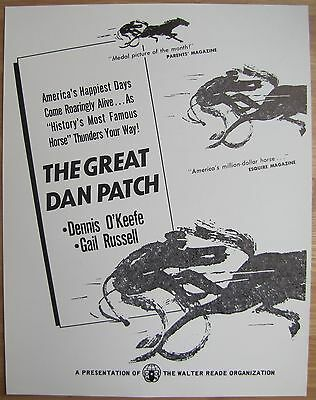 GREAT DAN PATCH Harness Racing Horse Racetrack DENNIS O'KEEFE Old Movie Flyer