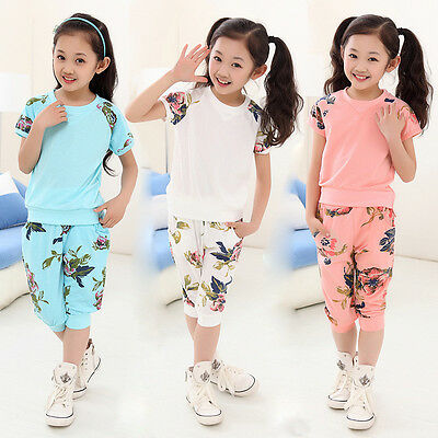 Girls Kid Floral Short Sleeve Summer T-shirt Top Blouse Pants Outfit Set 6-11Y
