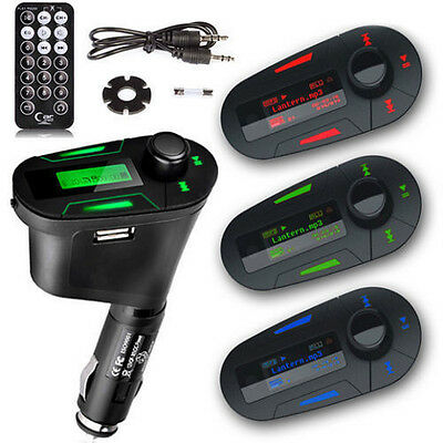 3Color Car Kit MP3 Player Wireless FM Transmitter Modulator USB SD LCD w/ Remote