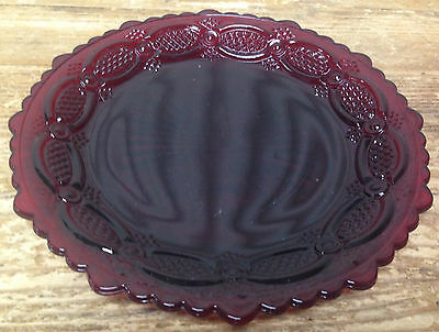 1 Salad Dessert Plate Avon Ruby Red Glass Cape Cod Pressed Cut Vintage 3353