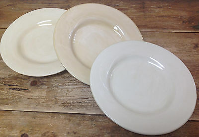 Pottery Barn Sausalito Hand Painted Mexico 3 Natural Cream Dinner Plates Ivory & 2 Pottery Barn Sausalito Natural Ivory 12 3/8