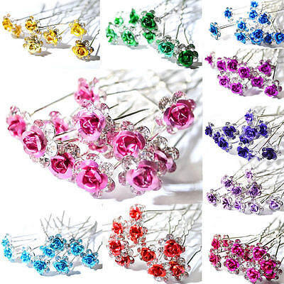 10pcs Rose Flower Crystal Wedding Party Bridal Prom Star Hair Pin Clips