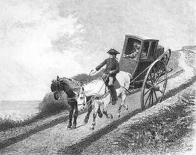 HORSE & BUGGY WAGON CARRIAGE BY SEA SHORE CLIFF, Original 1878 Art Print ETCHING