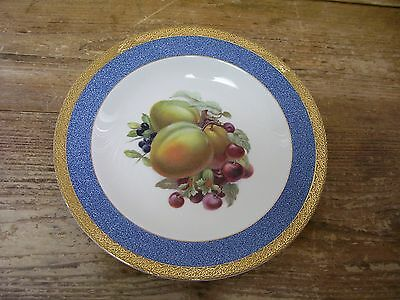 Crown Ducal Apricot Soup Cereal Bowl Fruit Center Blue Gold Rim England