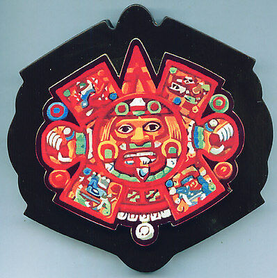 Royal Aztec Mayan Latin Sun God Mexico Indian Warrior Tribe Wall Wood Plaque War