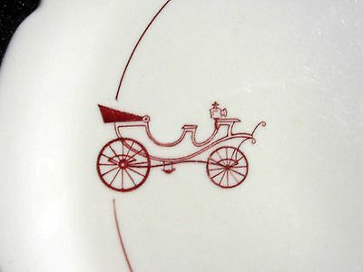 HORSELESS Carriage Plate ~ 1962 Walker China ~ Maroon and White