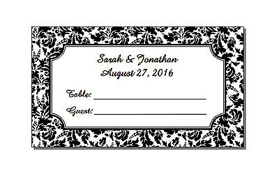 50 Personalized Wedding Rectangle Floral Damask Place Cards