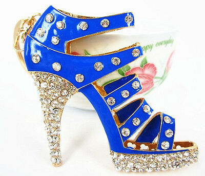 Shoe Blue High-Heel Charm Pendant Charm Crystal Purse Bag Keyring Key Chain Gift