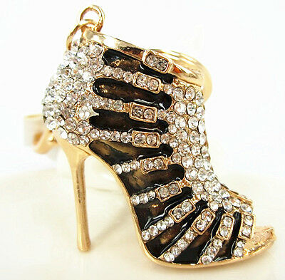 Black Shoe High Heel Cute Fashion Pendant Crystal Purse Bag Keyring Chain Gift