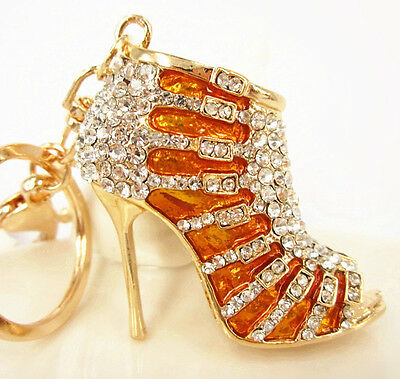 Gold Shoe High Heel New Charm Pendant Crystal Purse Bag Keyring Key Chain Gift