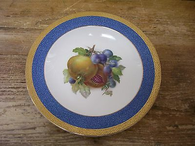 Crown Ducal Pomegranate  Soup Cereal Bowl Fruit Center Blue Gold Rim England