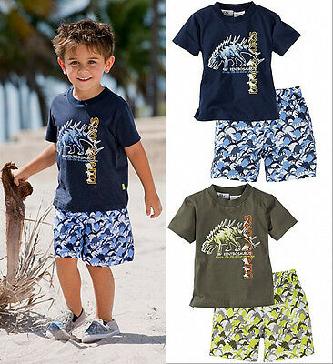Hot Baby Kids Boys Beach Wear Suit Dinosaur T-shirt Shorts 2PCS Outfits Age 1-5Y