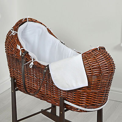 New 4Baby White Waffle Dark Wicker Baby Moses Basket / Snooze Pod With Mattress