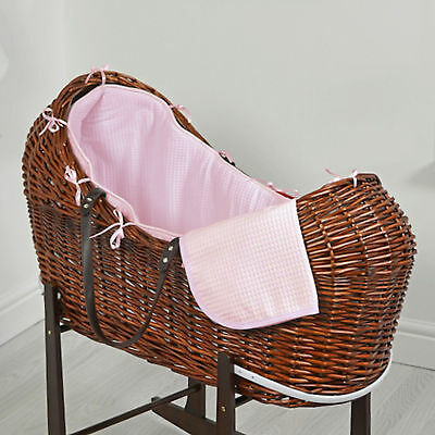 New 4Baby Pink Waffle Dark Wicker Baby Moses Basket / Snooze Pod With Mattress