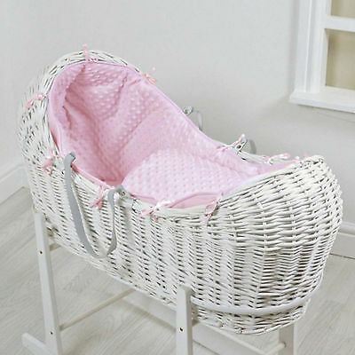 New 4Baby Pink Dimple White Wicker Baby Moses Basket / Snooze Pod & Mattress