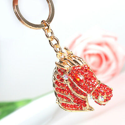 New Horse Head Charm Red Crystal Purse Bag Key Ring Chain Accessories Girl Gift