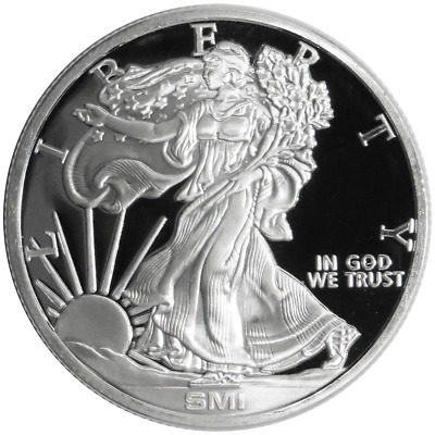 1 Troy oz Sunshine Mint Walking Liberty Design .999 Silver Round Mint Mark SI