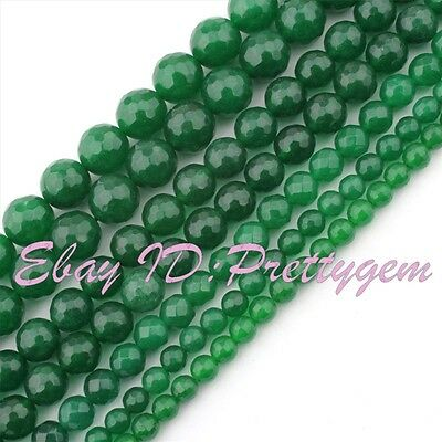 """4mm 6mm 8mm 10mm Faceted Round Green Jade Gemstone Jewelry Fashion Beads 15"""""""