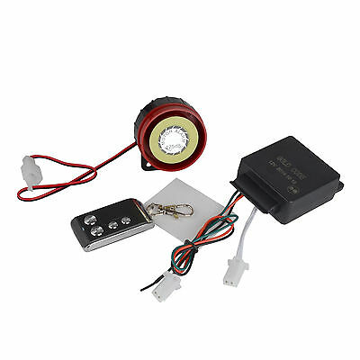 Black 12V Motorcycle One-way Remote Control Anti-theft Vibration Alarm System #