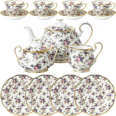 100 Year Of Royal Albert 1940 English Chintz 15 Piece Tea Set - New