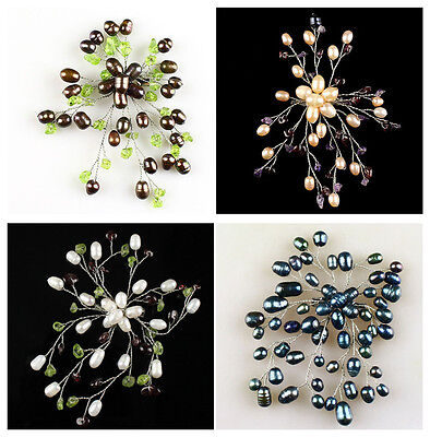A6765 Natural pearl flower brooch,accessory wholesale