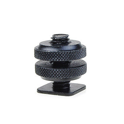"""New 1/4"""" Mount Adapter for Tripod Screw To Flash Hot Shoe Black"""