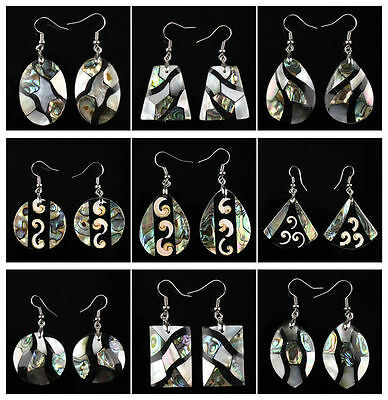 A6771 Pair intarsia shell abalone shell earring,more shape & size to select