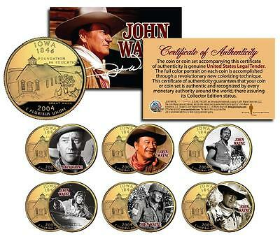 JOHN WAYNE MOVIES Colorized Iowa Quarters US 6-Coin Set * OFFICIALLY LICENSED *