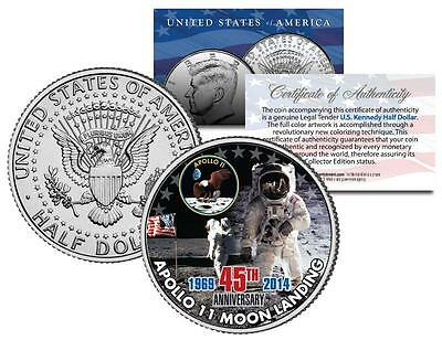 APOLLO 11 MOON LANDING * 45th Anniversary * JFK Half Dollar U.S. Coin NASA Space
