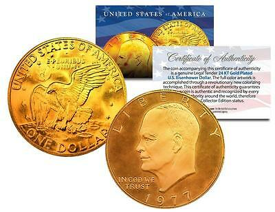 1977 EISENHOWER IKE DOLLAR *Moon Landing of Apollo 11* 24K GOLD PLATED COIN